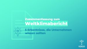 Weltklimabericht Zusammenfassung für Unternehmen